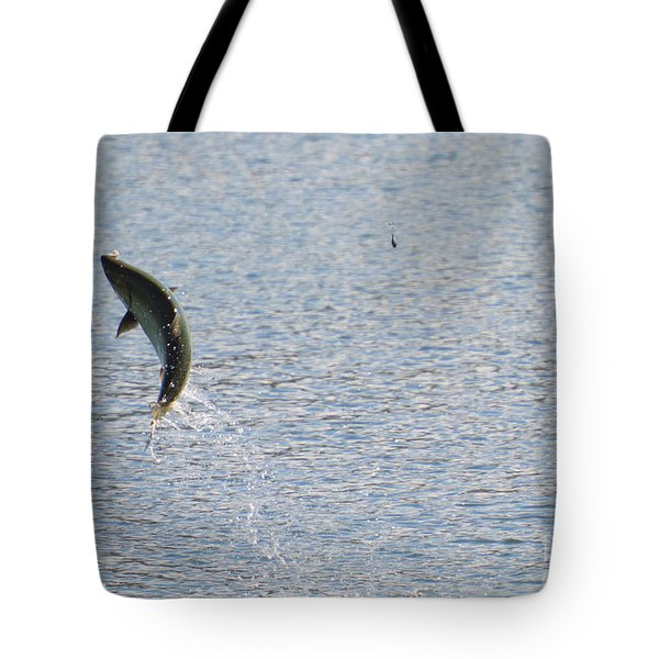 Fighting Chinook Salmon Tote Bag by Mike  Dawson