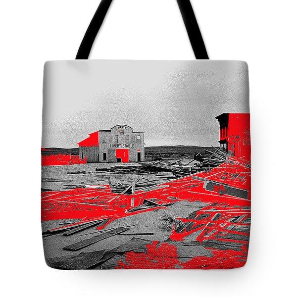 Film homage High Plain Drifter 1973 Monte Walsh set windstorm Mescal Arizona 1969-2012 Tote Bag by David Lee Guss