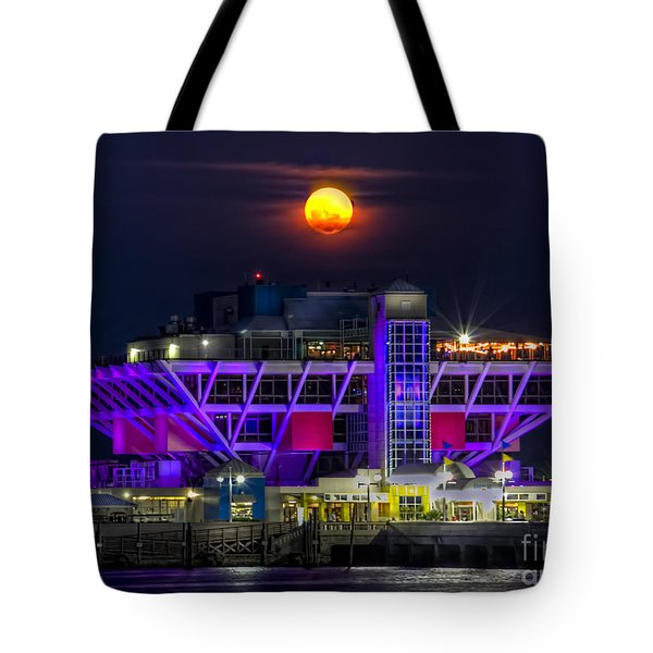 Final Moon Over The Pier Tote Bag by Marvin Spates