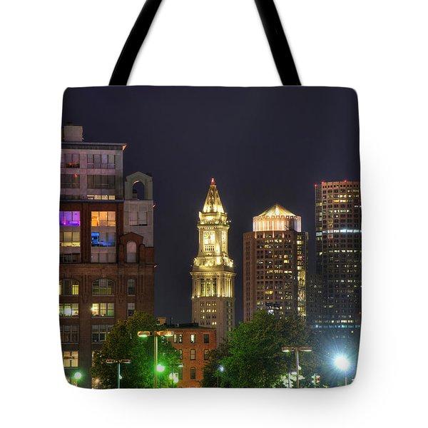 Financial District At Night - Boston Tote Bag by Joann Vitali