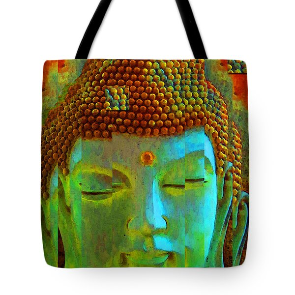 Finding Buddha - Meditation Art By Sharon Cummings Tote Bag by Sharon Cummings