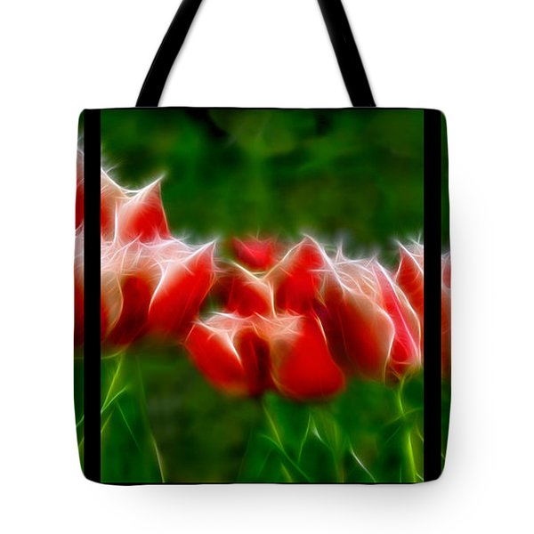 Fire and Ice Fractal Triptych Tote Bag by Peter Piatt