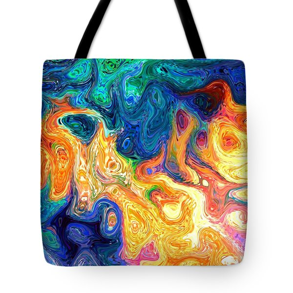 Fire And Water Abstract Art Tote Bag by Annie Zeno