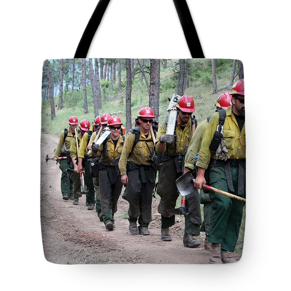 Tote Bag featuring the photograph Fire Crew Walks To Their Assignment On Myrtle Fire by Bill Gabbert