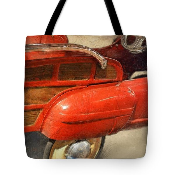 Fire Engine Pedal Car Tote Bag by Michelle Calkins