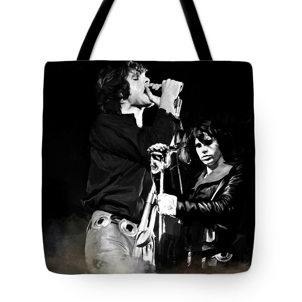 Fire In A Storm  Jim Morrison Tote Bag by Iconic Images Art Gallery David Pucciarelli