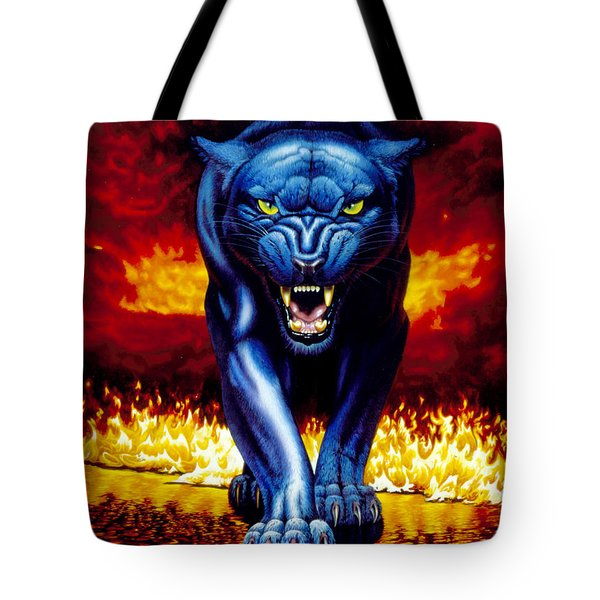 Fire Panther Tote Bag by MGL Studio - Chris Hiett