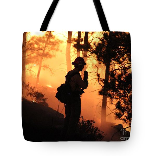 Tote Bag featuring the photograph Firefighter At Night On The White Draw Fire by Bill Gabbert