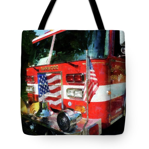 Fireman - Front Of Fire Engine Tote Bag by Susan Savad
