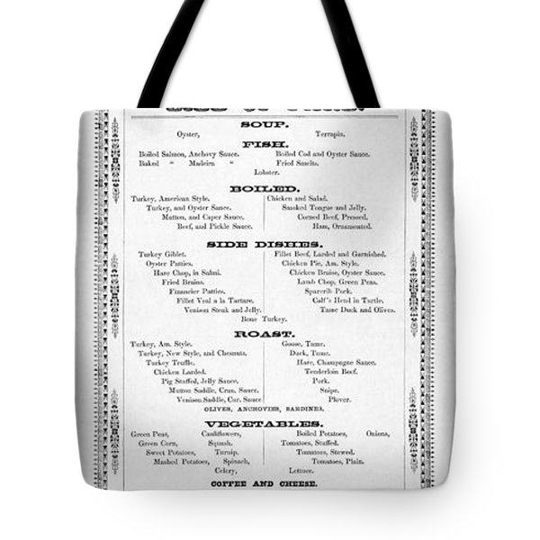 Firemen Dinner Menu - San Francisco - 1856 Tote Bag by Daniel Hagerman
