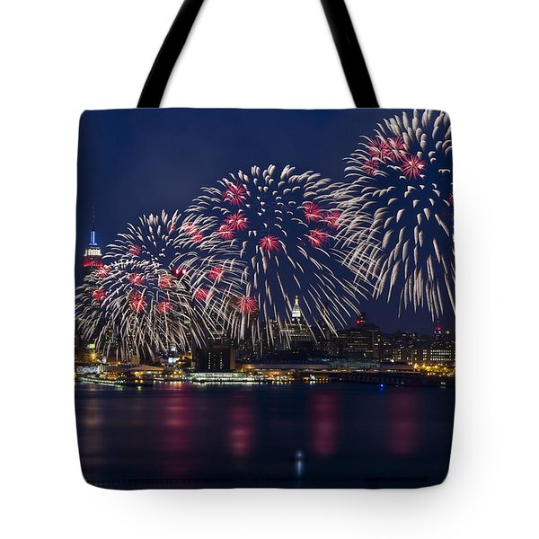 Fireworks And Full Moon Over New York City Tote Bag by Susan Candelario