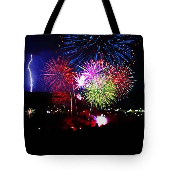 Fireworks And Lightning Tote Bag by Bruce Denis