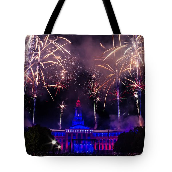 Fireworks Over Denver City and County Building Tote Bag by Teri Virbickis