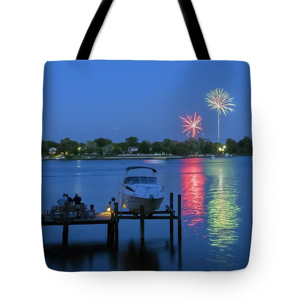 Fireworks Over Stony Creek Tote Bag by Brian Wallace