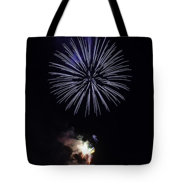 Fireworks Shell Burst over the St Petersburg Pier Tote Bag by Jay Droggitis