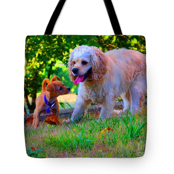 First Anniversary Image Angel And Chika Tote Bag by Tina M Wenger