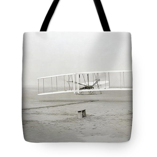 First Flight Captured On Glass Negative - 1903 Tote Bag by Daniel Hagerman