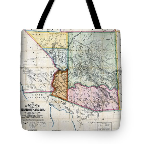 First Map Of Arizona Territory  1865 Tote Bag by Daniel Hagerman