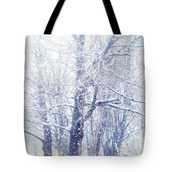 First Snow. Dreamy Wonderland Tote Bag by Jenny Rainbow