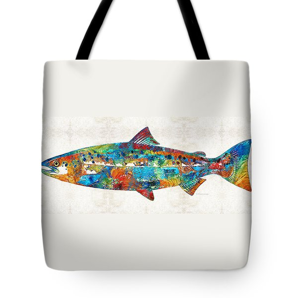 Fish Art Print - Colorful Salmon - By Sharon Cummings Tote Bag by Sharon Cummings