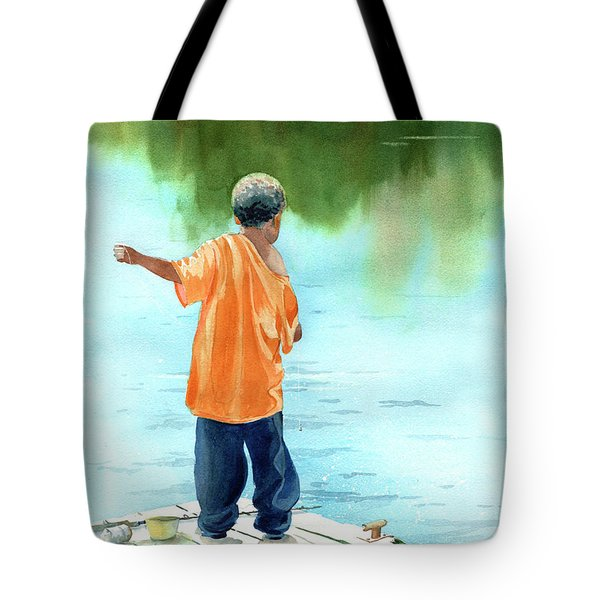 Fish Story Tote Bag by Kris Parins
