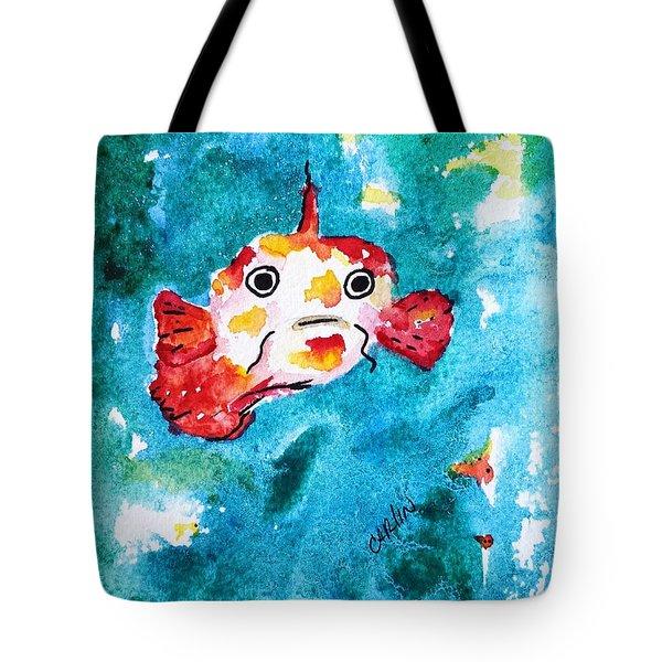 Fish Traveler - Abstract Tote Bag by Carlin Blahnik