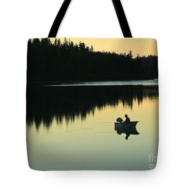 Fisherman at Dusk Tote Bag by Nancy Harrison