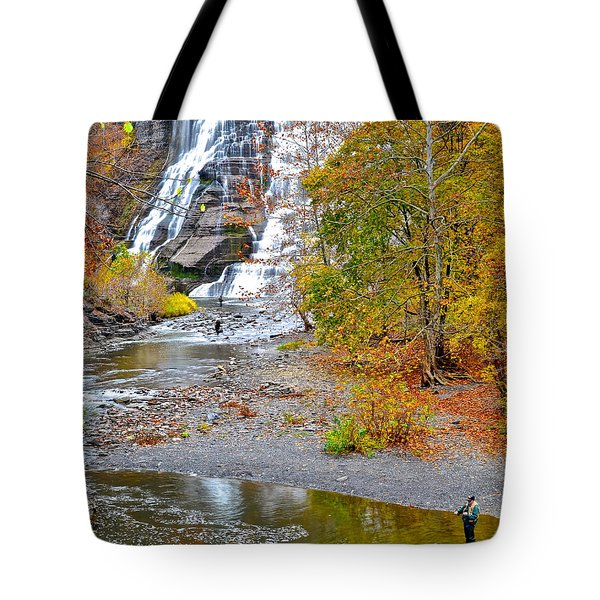 Fisherman One With Nature Tote Bag by Frozen in Time Fine Art Photography