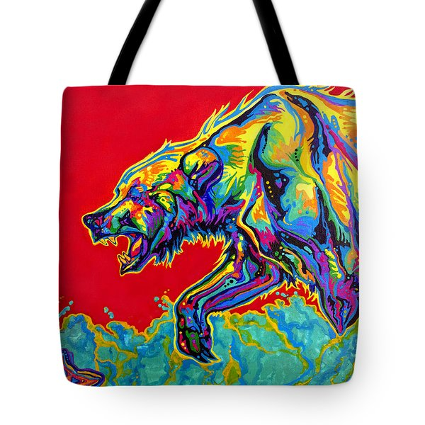Fishing Bear Tote Bag by Derrick Higgins