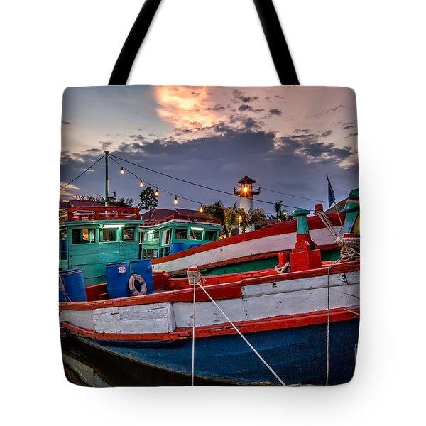 Fishing Boat Tote Bag by Adrian Evans