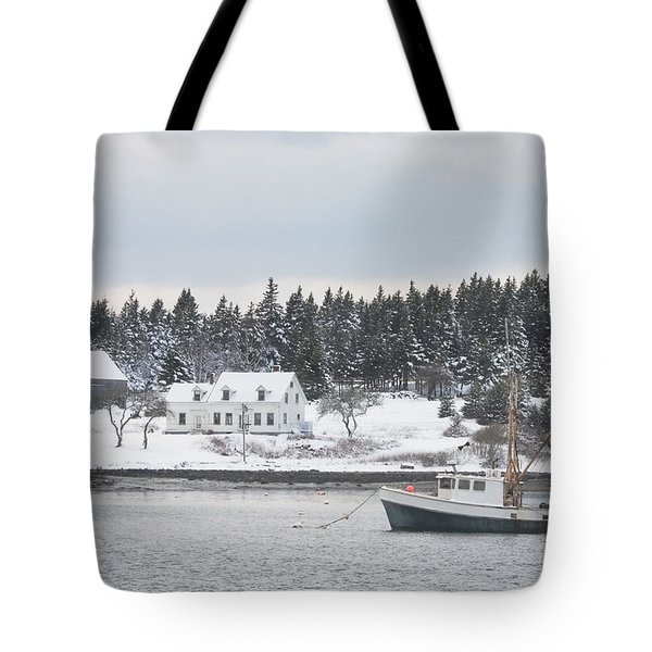 Fishing Boat After Snowstorm in Port Clyde Harbor Maine Tote Bag by Keith Webber Jr
