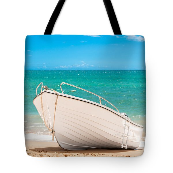Fishing Boat On The Beach Algarve Portugal Tote Bag by Amanda And Christopher Elwell