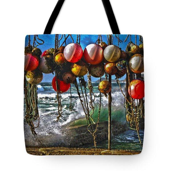 Fishing Buoys Tote Bag by Terri Waters