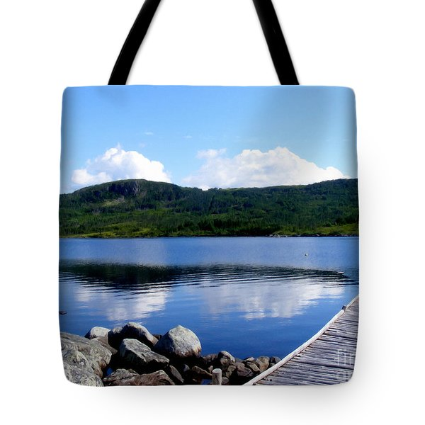 Fishing Day - Calm Waters - Digital Painting Tote Bag by Barbara Griffin