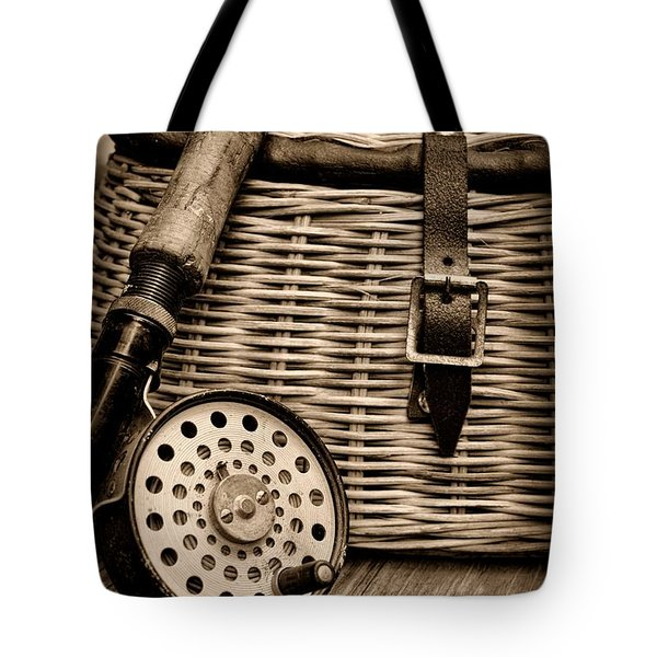 Fishing - Fly Fishing - Black And White Tote Bag by Paul Ward