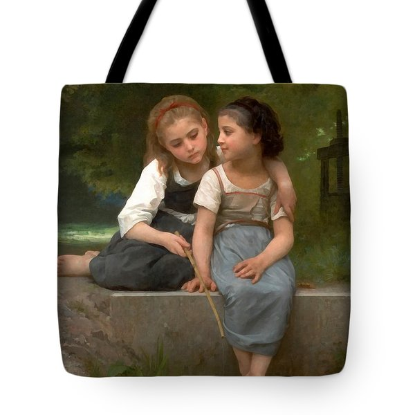 Fishing For Frogs Watercolor Version Tote Bag by William Bouguereau
