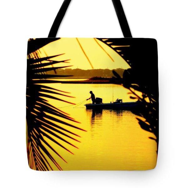 Fishing In Gold Tote Bag by Karen Wiles