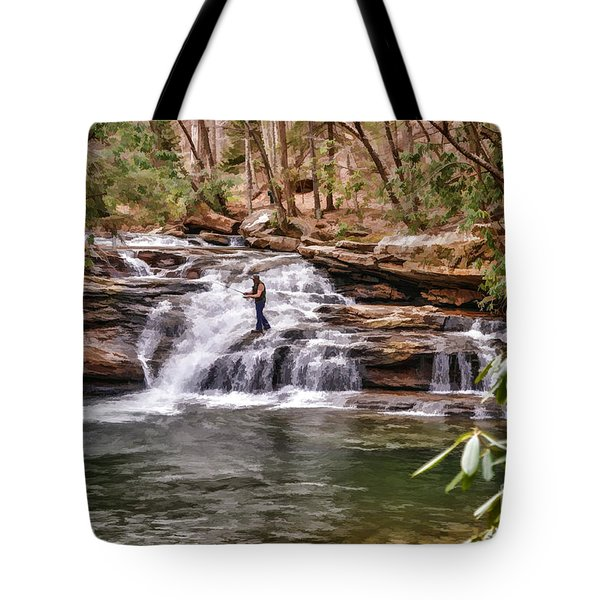 Fishing Mill Creek Falls in West Virginia Tote Bag by Dan Friend