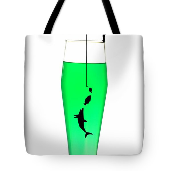 Fishing On A Cup Of Cocktail Little People On Food Tote Bag by Paul Ge