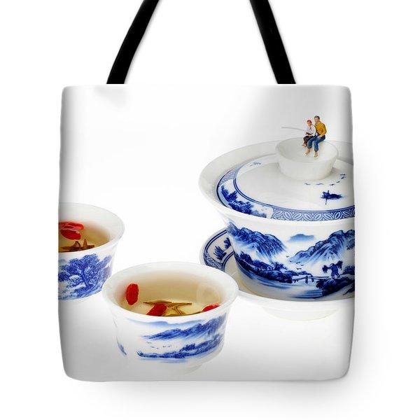 Fishing On Tea Cups Little People On Food Series Tote Bag by Paul Ge
