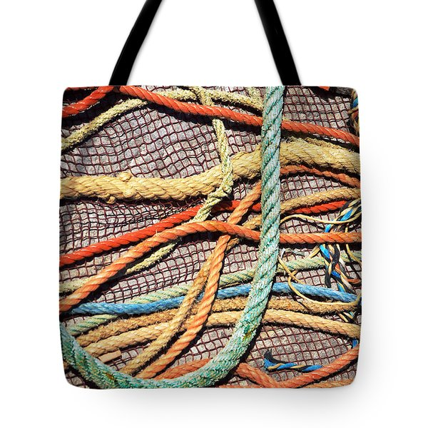 Fishing Ropes and Net Tote Bag by Carlos Caetano