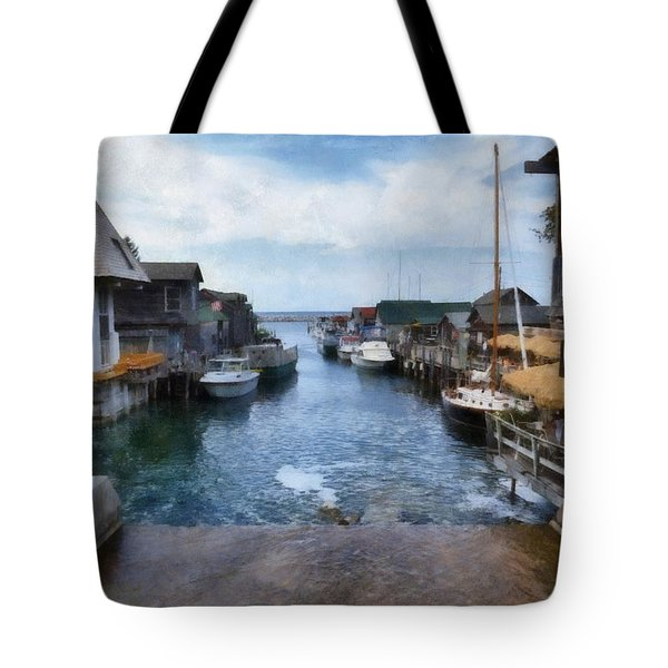 Fishtown Leland Michigan Tote Bag by Michelle Calkins