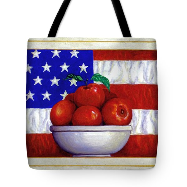 Flag and Apples Tote Bag by Linda Mears