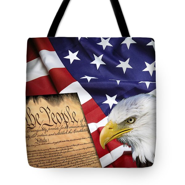 Flag Constitution Eagle Tote Bag by Daniel Hagerman