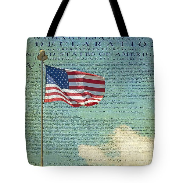 Flag - Declaration Of Independence -  Luther Fine Art Tote Bag by Luther  Fine Art