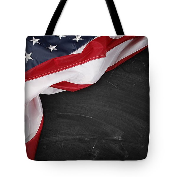 Flag on blackboard Tote Bag by Les Cunliffe