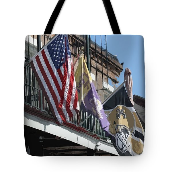 Flags On Bourbon Street Tote Bag by Donna G Smith