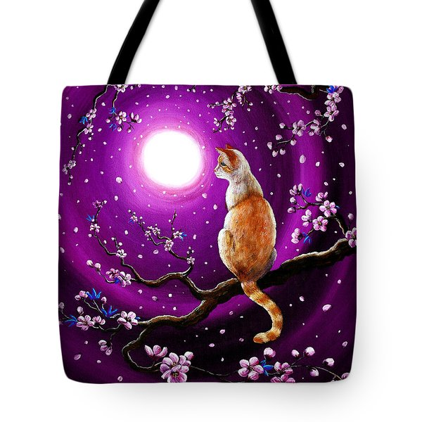 Flame Point Siamese Cat In Dancing Cherry Blossoms Tote Bag by Laura Iverson