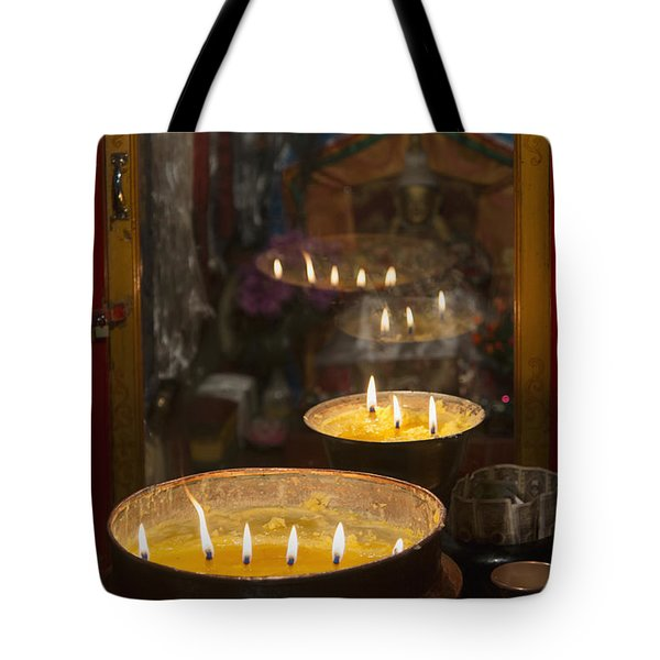 Flames Burning In A Row In Large Bronze Tote Bag by Keith Levit