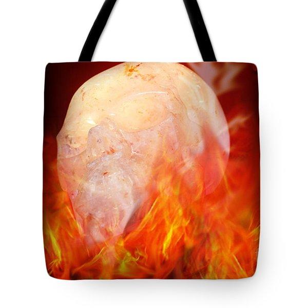 Flaming Crystal Skull Tote Bag by Terri  Waters